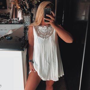 Dresses & Skirts - White high neck lace dress